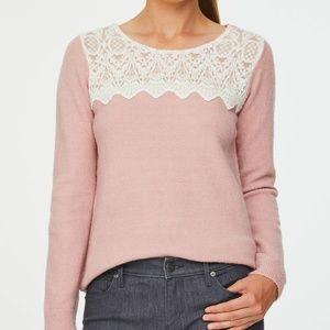 Loft Lace Yoke Cozy Blush Pink Sweater